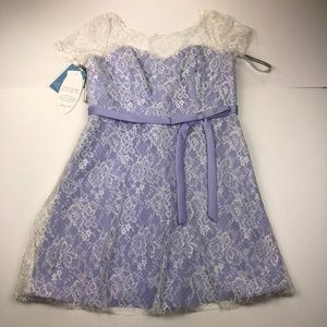 Alfred Angelo Small Light Purple White Lace Dress